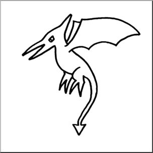 Cute pterodactyl clipart black and white clipart transparent library Clip Art: Cute Dinos Pterodactyl B&W I abcteach.com | abcteach clipart transparent library