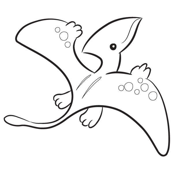 Cute pterodactyl clipart black and white jpg freeuse library Kawaii pteredactyl drawings | Pterodactyl Coloring Page ... jpg freeuse library