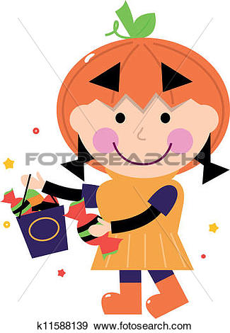 Cute pumpkin character clipart clipart library stock Clip Art of Little cute Girl in pumpkin costume isolated on white ... clipart library stock