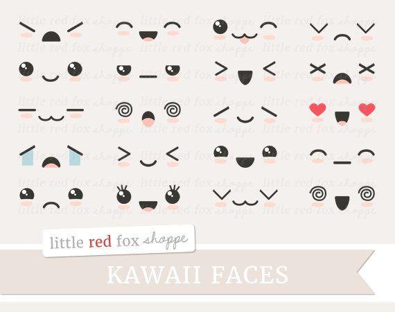 Kawaii Face Clipart, Cute Faces Clip Art Expression Happy Sad Smile ... svg freeuse