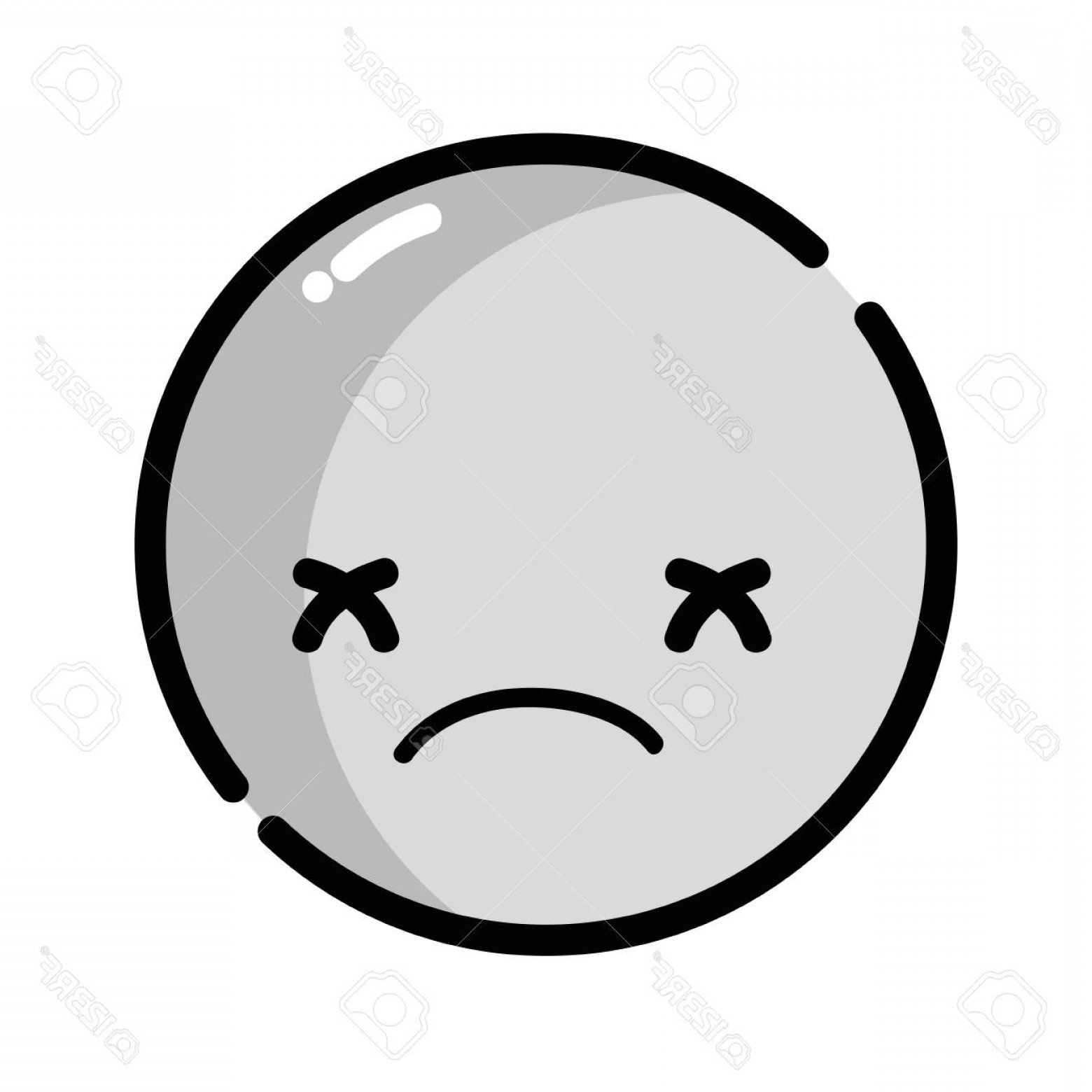 Photostock Vector Kawaii Head With Cute Sad Face Vector Illustration ... png free download