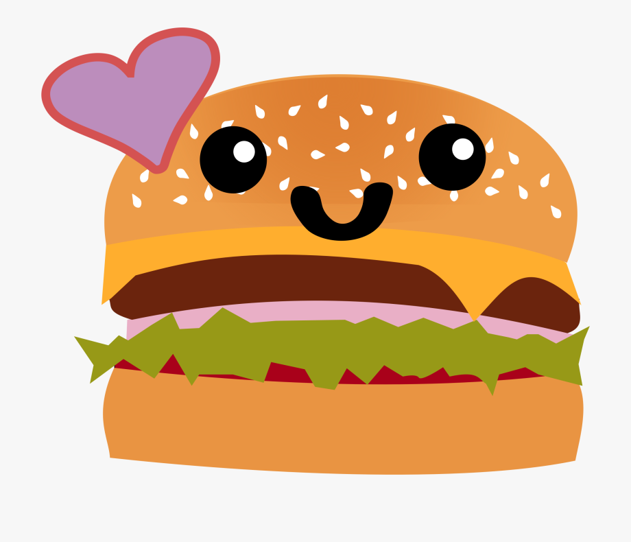 Cute sandwich clipart png free Hamburger Clipart Cute - Slogan On Junk Food And Healthy Food ... png free