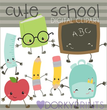 Cute school cliparts graphic Cute Kawaii Back to School Clipart graphic