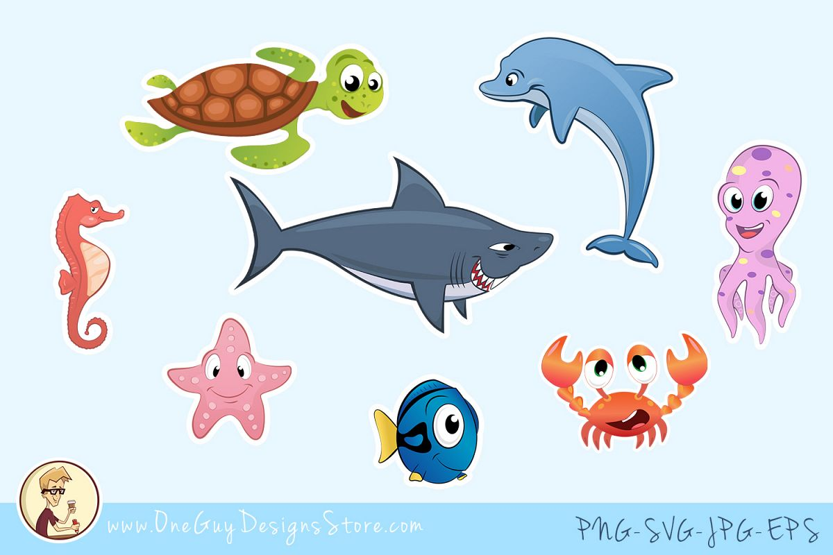 Underwater sea creatures clipart png library stock Sea Animals Clipart, Underwater Life, Cute Characters png library stock