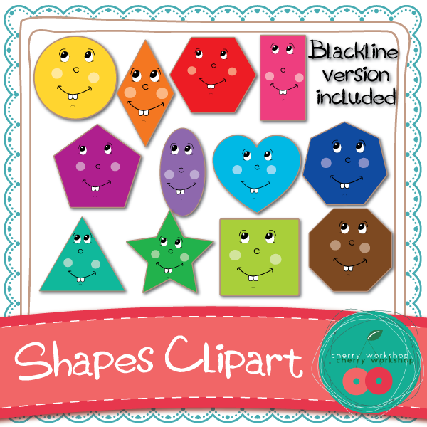 Cute shapes clipart image black and white library Shapes Clip Art {Commercial Use} | Shameless Promotions ... image black and white library