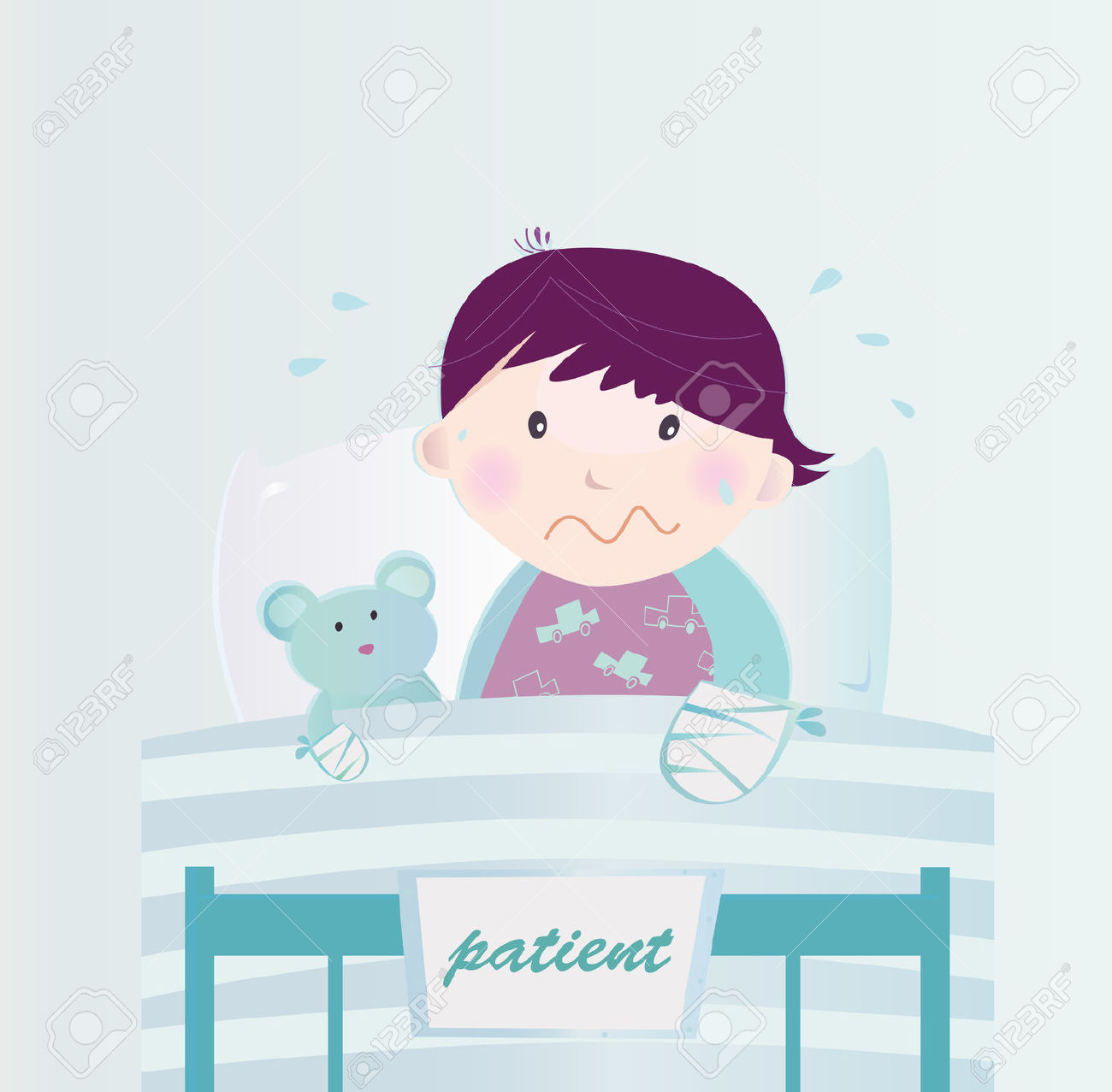 Cute small bed cartoon clipart svg transparent library Ill Child With Broken Hand In The Hospital. Cute Small Child ... svg transparent library