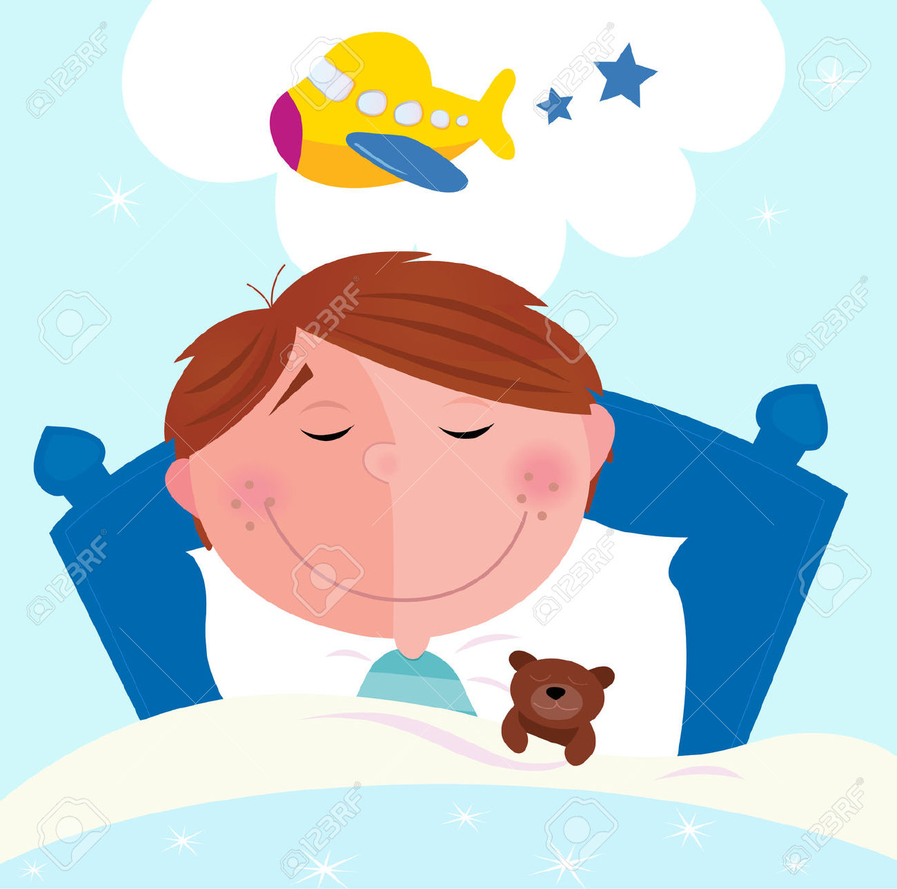 Clipartfest boy sleeping in. Cute small bed cartoon clipart