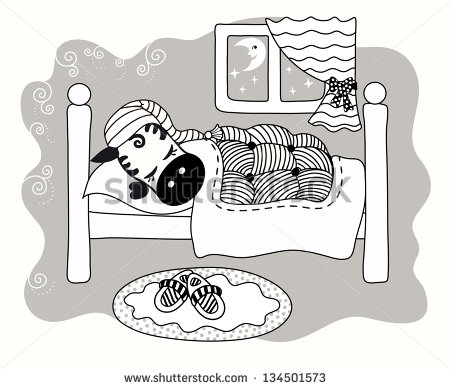 Cute small bed cartoon clipart. Children colored picture stock