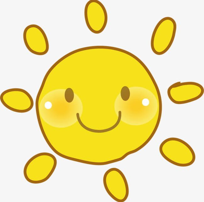 Yellow sun happy face clipart