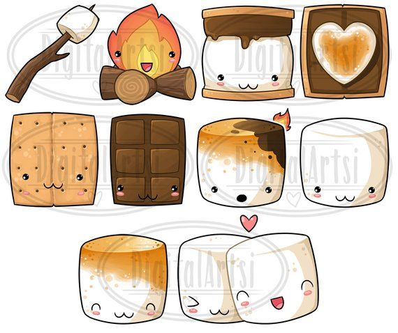 Cute smores clipart clip art library library Kawaii Smores Clipart - Smore\'s ClipArt - Instant Download - Camping ... clip art library library
