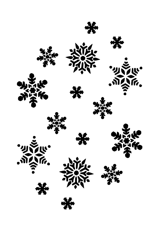 Snowflake clipart black graphic download Snowflakes Black White Line Art Christmas Xmas Holiday Coloring Book ... graphic download