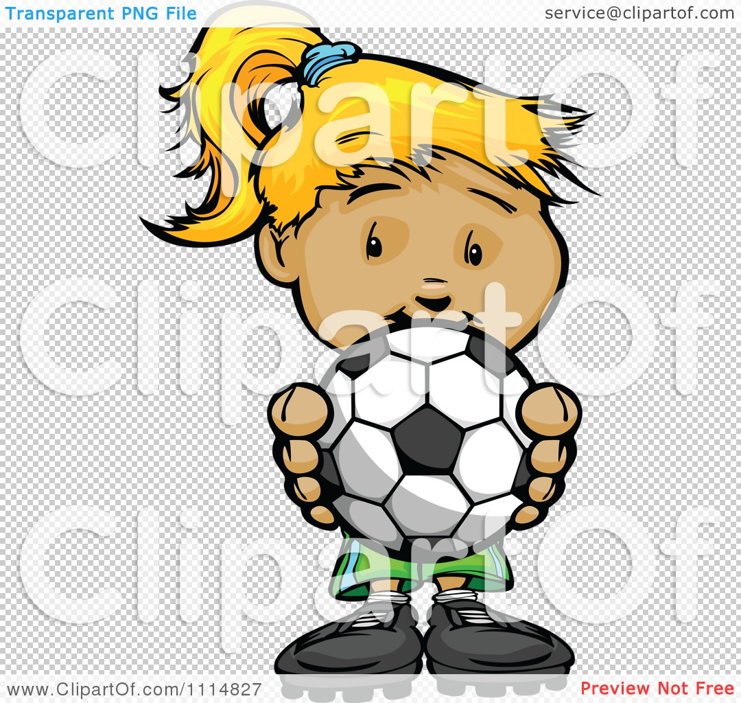 Cute soccer ball clipart png free stock Clipart Cute Blond Athletic Girl Holding A Soccer Ball - Royalty ... png free stock