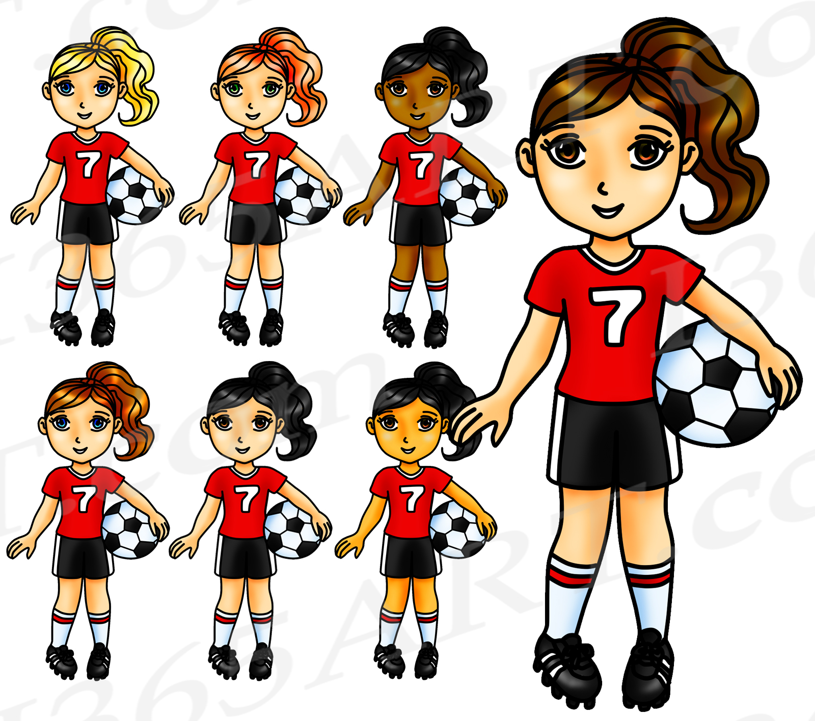 Cute soccer clipart image stock Soccer Clipart, Red Soccer Girl Clipart, Sports Clip Art, Red Team, World  Cup, Planner Stickers image stock