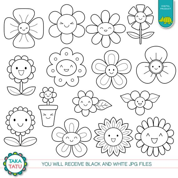 Cute spring clipart black and white svg black and white download Kawaii Flowers Digital Stamp - Black and White Clipart ... svg black and white download