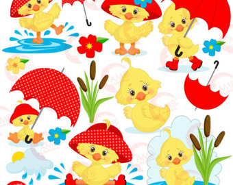 Cute spring showers clipart. Umbrella etsy duck april