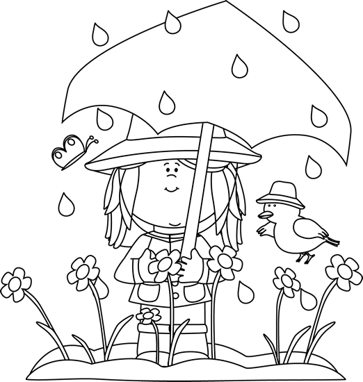 Cute spring showers clipart. Clipartfest black and white