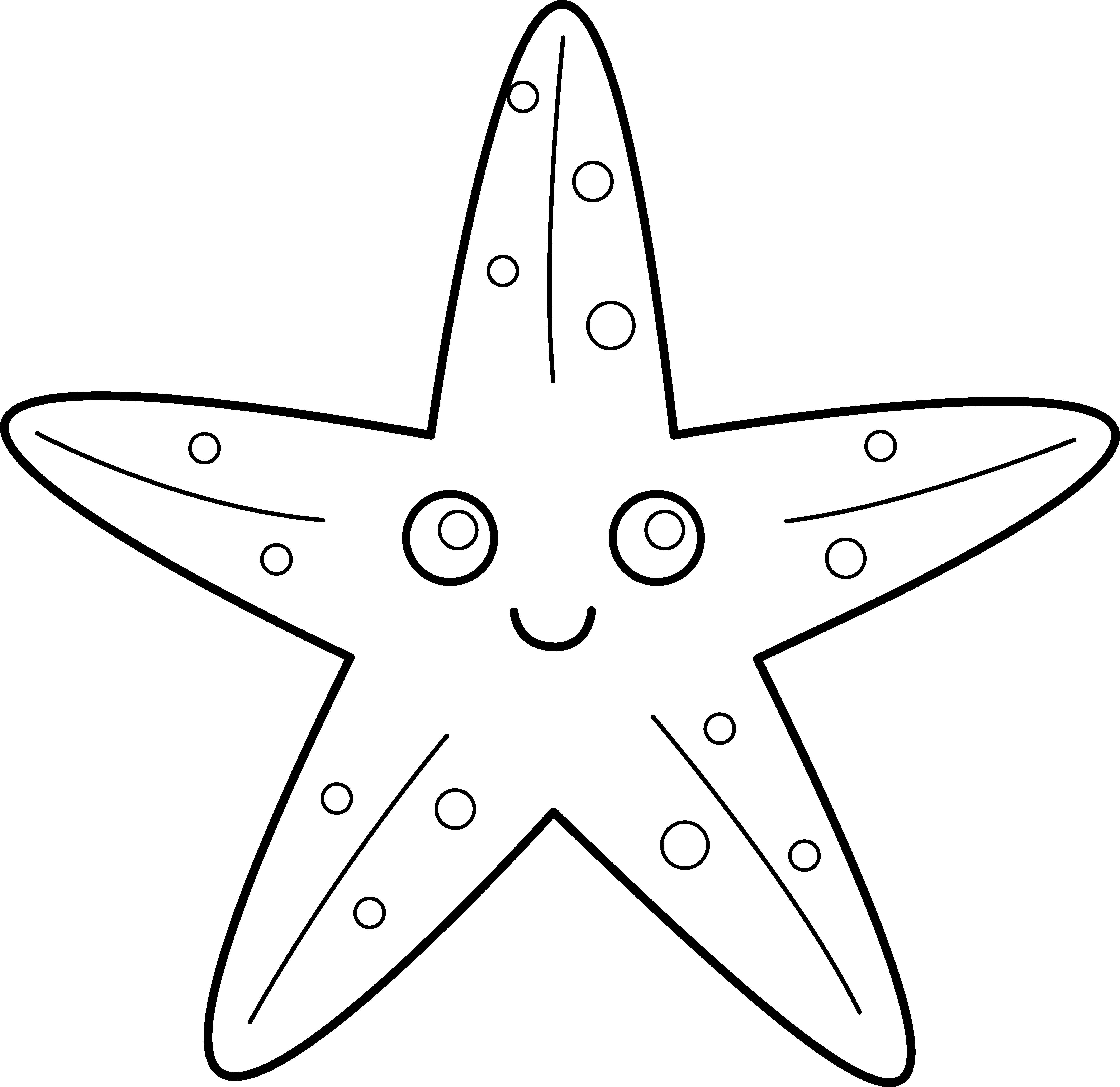 Free clipart of fish coloring pages banner library library Cute Starfish Line Art - Free Clip Art banner library library