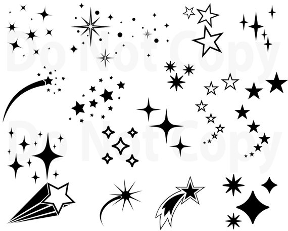 Cute star clipart groovy black and white jpg black and white Stars SVG Bundle, Star Vector, Shooting Stars svg file for ... jpg black and white