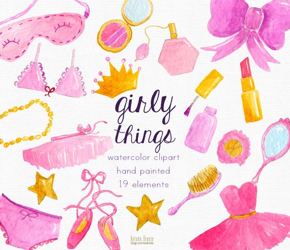 Cute things that are pink clipart jpg library library Watercolor girl clipart, pink girly clip art, pink, watercolour pink ... jpg library library