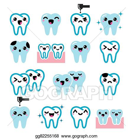 Cute tooth clipart image download Vector Stock - Kawaii tooth, cute teeth character. Clipart ... image download