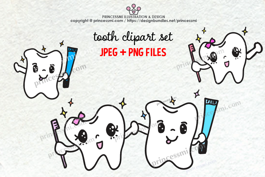 Cute tooth clipart jpg transparent library Cute TOOTH illustration clipart set jpg transparent library