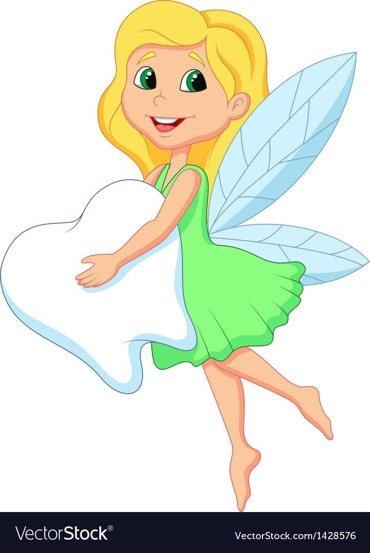 Cute tooth fairy clipart clipart transparent Cartoon a cute Tooth Fairy flying with Tooth clipart transparent