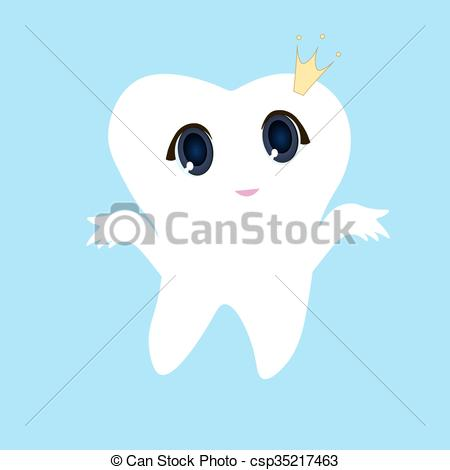 Cute tooth with hearts clipart vector library download Clip Art Vector of Cute cartoon tooth smiling, Card little happy ... vector library download