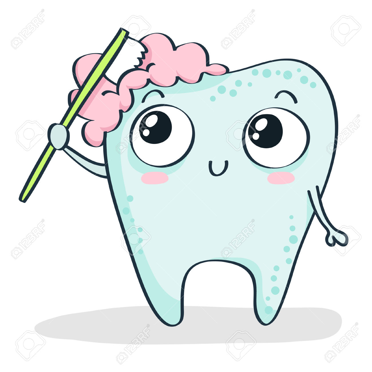 Cute tooth with hearts clipart jpg black and white download Cute Cartoon Tooth Brushing Itself Isolated On White Royalty Free ... jpg black and white download