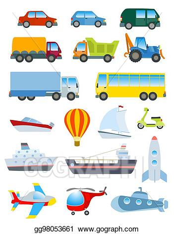 Water by road clipart picture library stock Vector Clipart - Cute transport set. simple cartoon road ... picture library stock