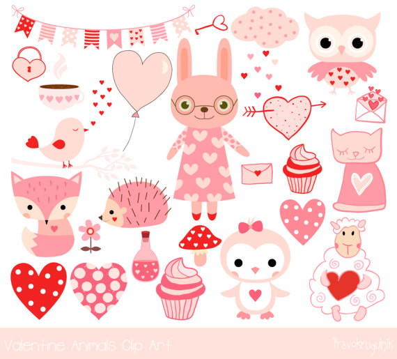 Cute valentine animal clipart clip art free Cute Valentine animal clipart Pink kawaii animal clip art clip art free
