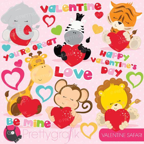 Cute valentine animal clipart. Set including baby safari