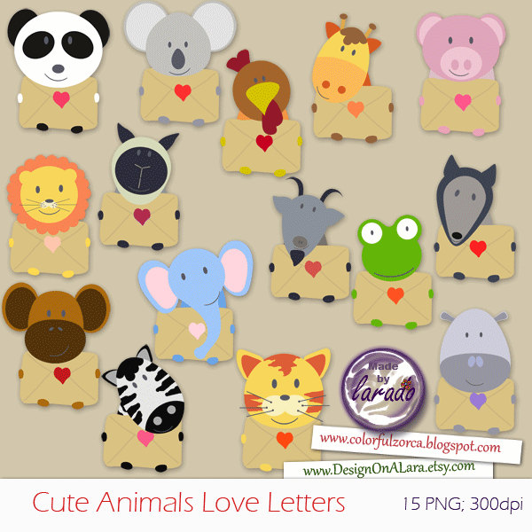 Cute valentine animal clipart graphic black and white Cute Animals Love Letters Clip art Valentine Clipart graphic black and white