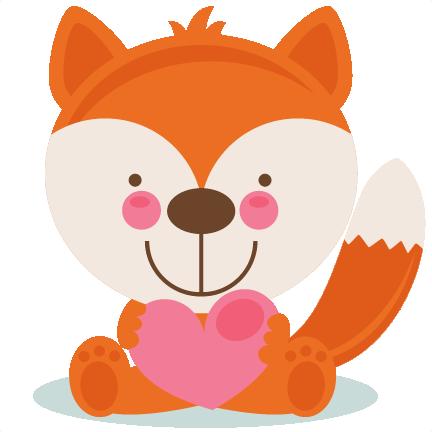 Fox scrapbook cuts svg. Cute valentine animal clipart