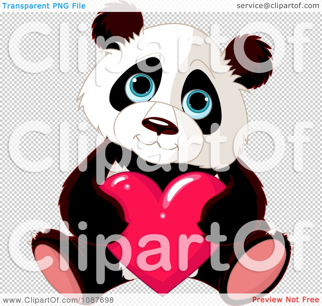 Cute valentine animal clipart png svg transparent Clipart Cute Valentine Panda Holding A Heart - Royalty Free Vector ... svg transparent