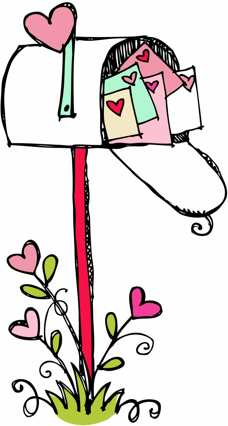 Cute valentine clipart. Mailbox kid black and
