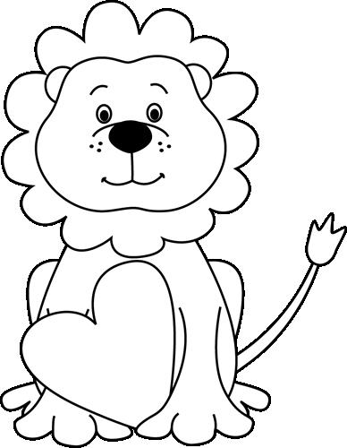 S day lion clip. Cute valentine clipart black and white