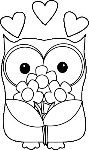 Clipartfest owl clip art. Cute valentine clipart black and white