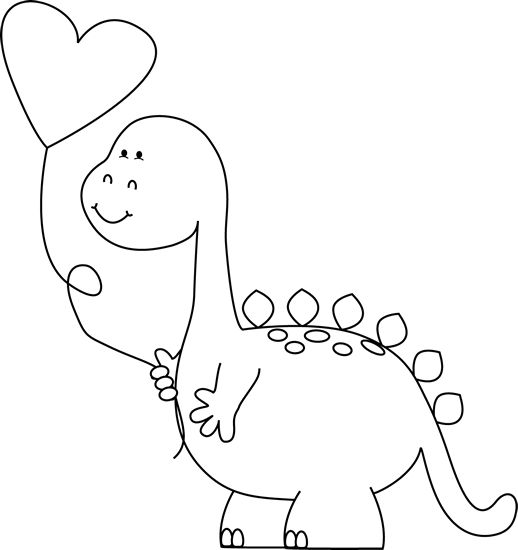 Cute valentine clipart black and white banner freeuse Black and White Valentine's Day Dinosaur Clip Art Clip Art - Black ... banner freeuse
