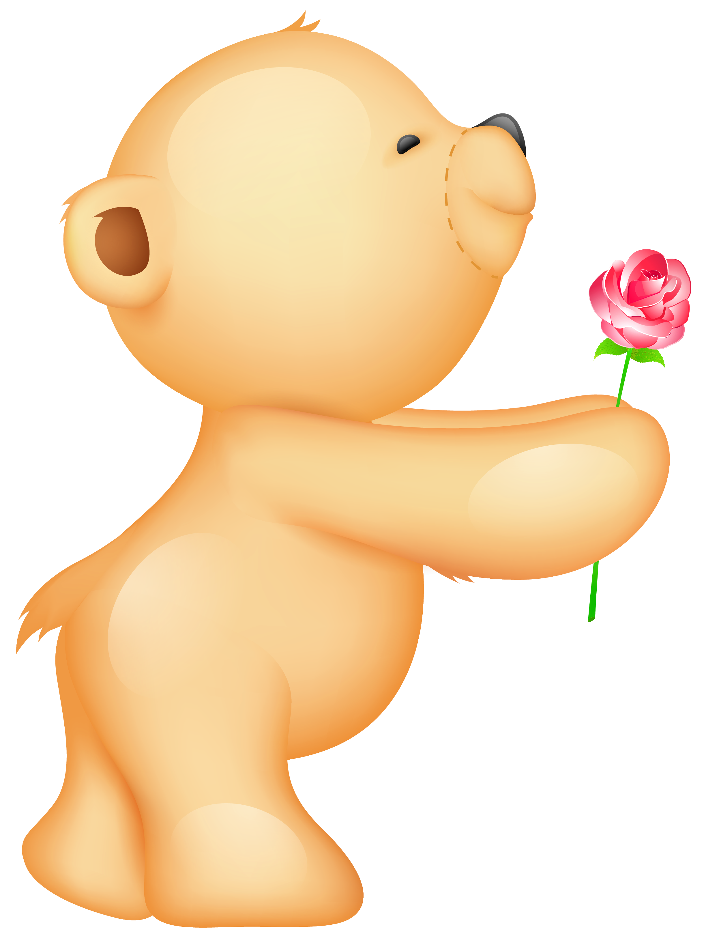 Teddy with rose picture. Cute valentine clipart png