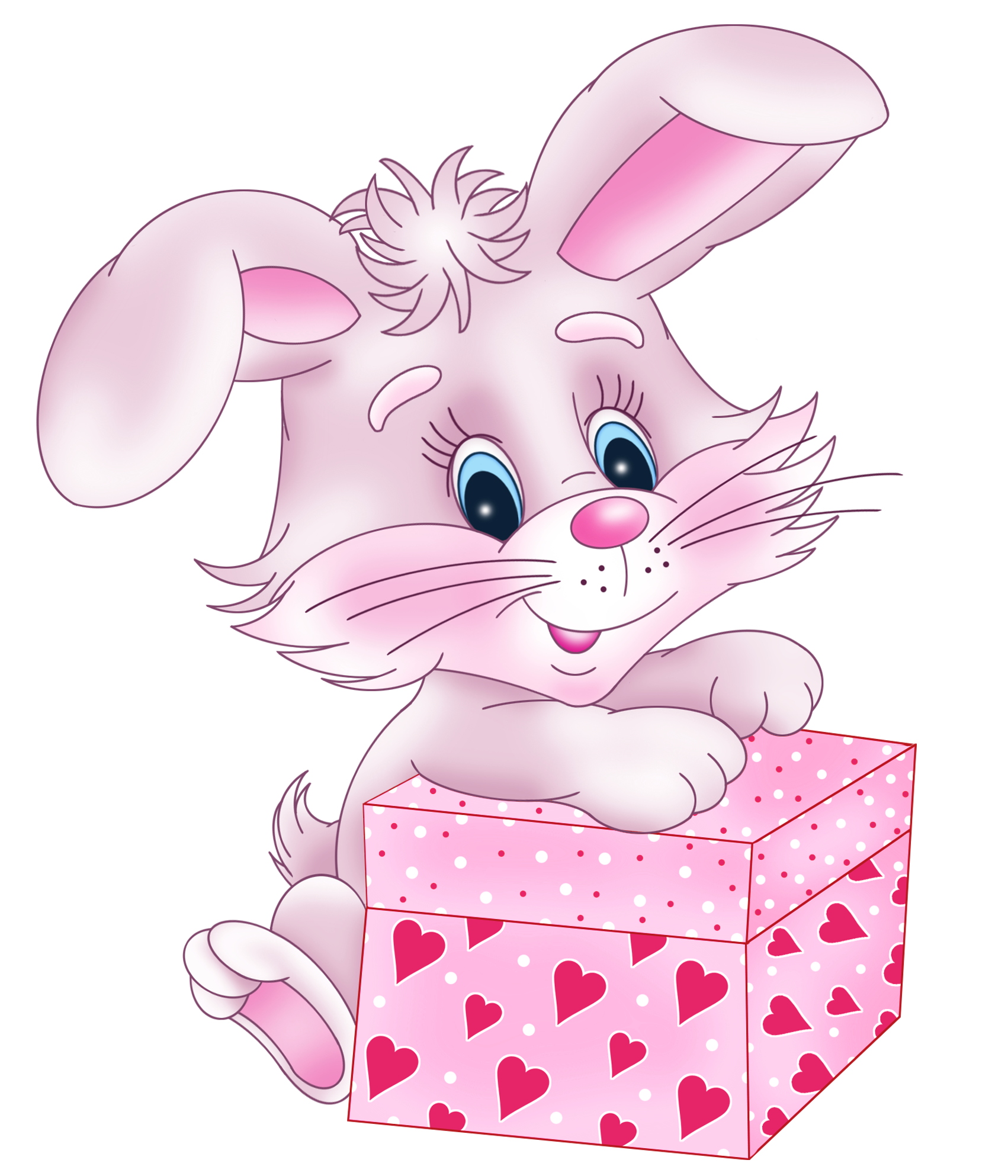 Bunny with gift box. Cute valentine clipart png
