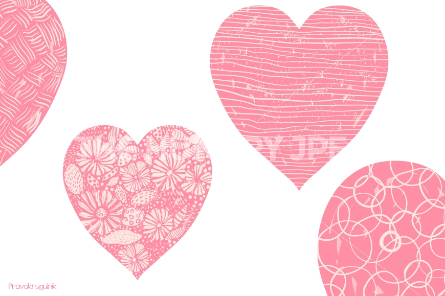 Cute valentine hearts clipart banner free Pink Valentine hearts clipart, Romantic Valentine clip art, Hand ... banner free