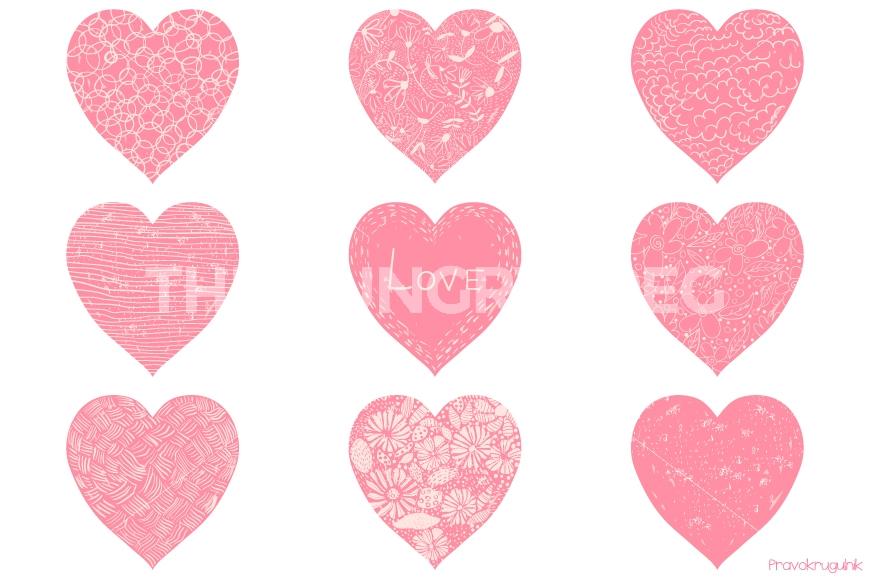 Cute valentine hearts clipart vector download Pink Valentine hearts clipart, Romantic Valentine clip art, Hand ... vector download
