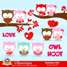 Cute valentine owl clipart banner royalty free INSTANT DOWNLOAD - Valentine Clip Art - Owl Clipart, Owl Clip Art ... banner royalty free
