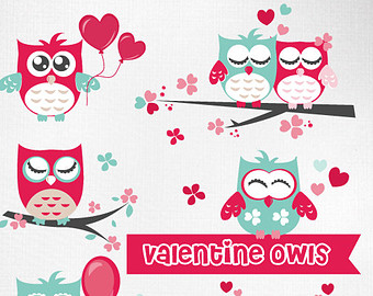 Kid valentines day owls. Cute valentine owl clipart