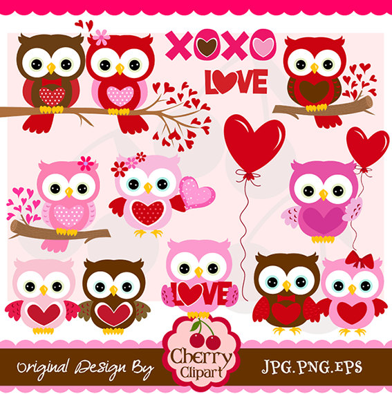 Cute valentine owl clipart. Kid s day sweet