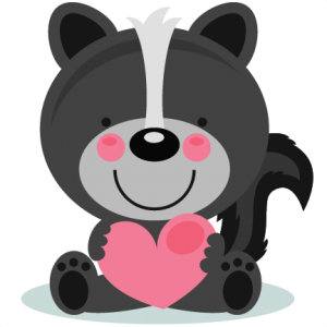 Cute valentine skunk clipart black and white clip Animals/Pets clip