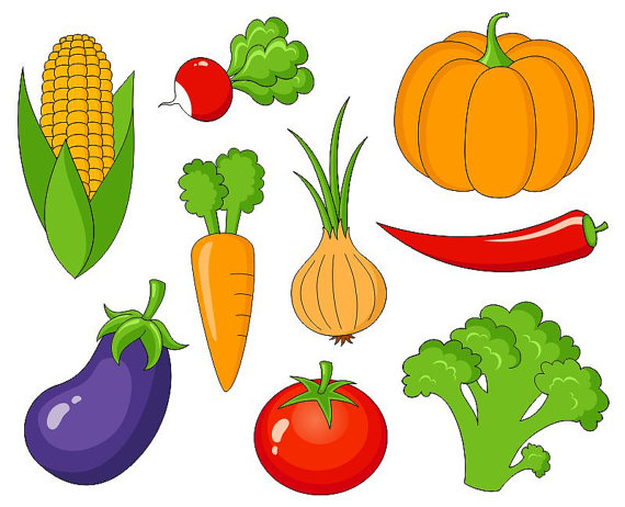 Vegetarian clipart free picture black and white Vegetables Clip Art, Cute Veggies Digital Clipart, Corn, Pumpkin ... picture black and white