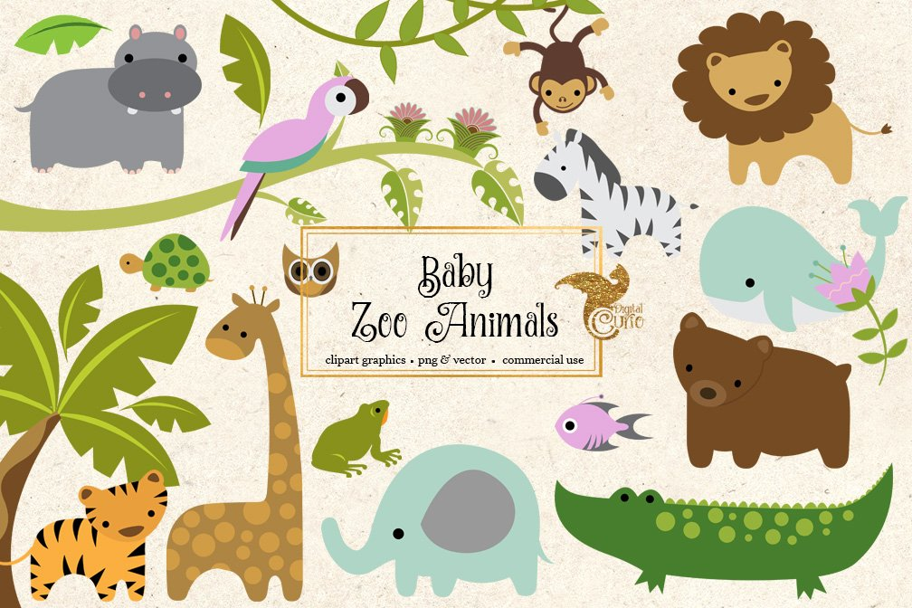 Cute zoo animals clipart clipart library Baby Zoo Animals Clipart clipart library