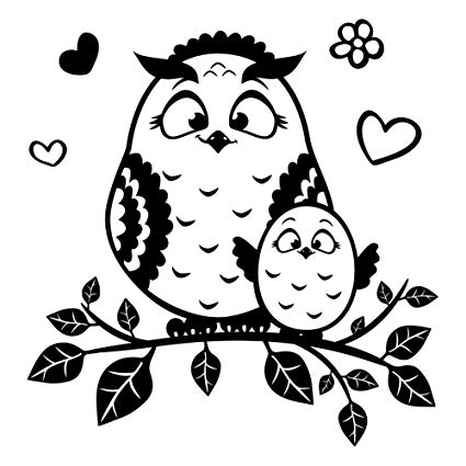 Cuteowl clipart black and white on a branch royalty free library Mommy and Baby Owl on a Branch, Black Vinyl Decal Sticker, Cute Decor for  13\