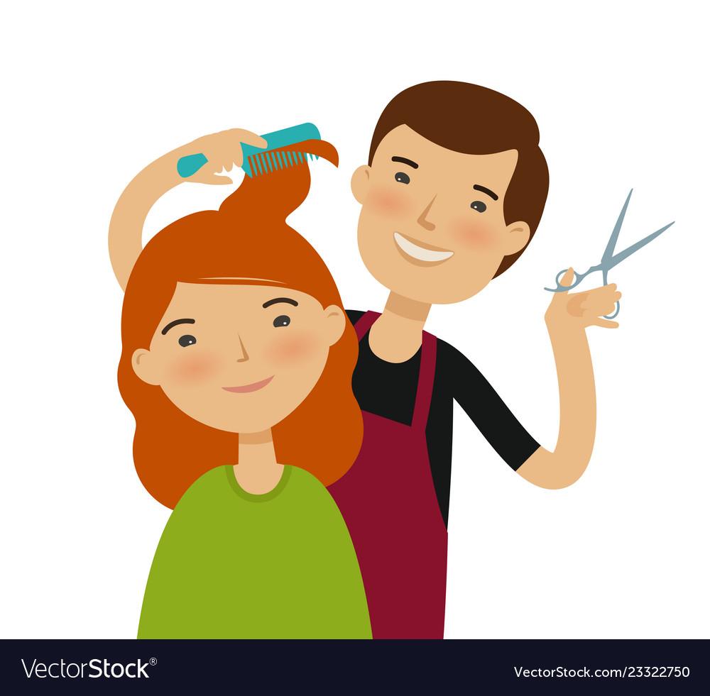 Cutting hair clipart clip transparent library Hairstylist cutting hair womens haircut beauty clip transparent library